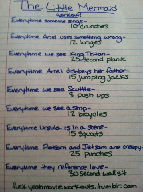 The Little Mermaid workout!  Want to see more workouts like this one? Follow us here.