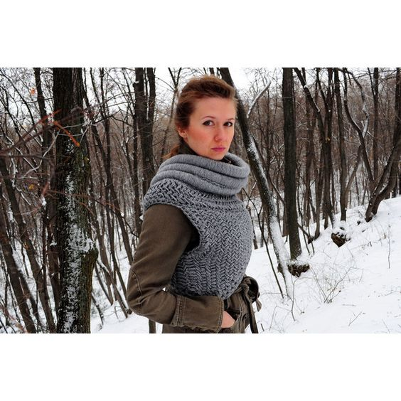 Katniss Inspired Cowl Made to Order (Based on the Movie the Hunger... (26.430 HUF) ❤ liked on Polyvore featuring tops, grey, vests, women's clothing, gray top, vest top, grey vest, grey top and cowl top