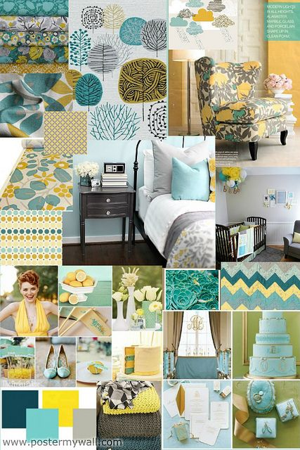 Aqua Grey Yellow Good Stuff Color Pinterest