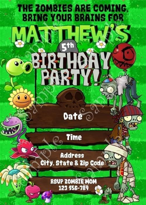 92 Special Free Plants Vs Zombies Birthday Invitation