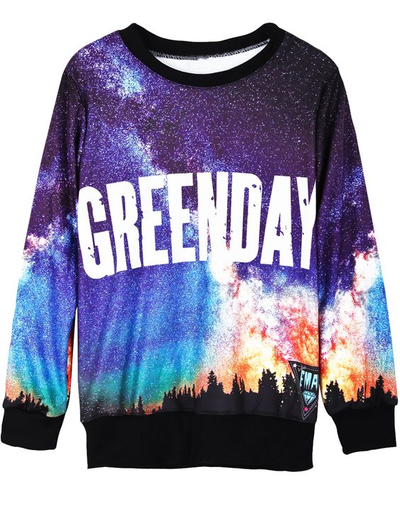 Black Long Sleeve Galaxy GREENDAY Print Sweatshirt US$31.15 sooo gorgeous♥♡♥♡♥♡love love love!
