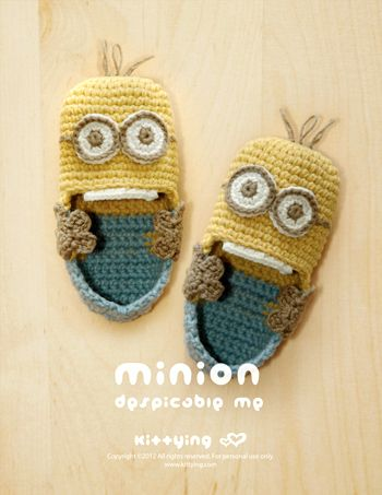 Minion Despicable Me Baby Booties Crochet PATTERN, PDF - so great + you already make the minions = booties should be a breeze :):