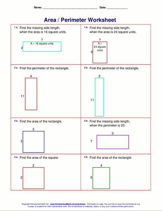 math worksheet : math worksheets 4th grade area perimeter 4  math  pinterest  : Area And Perimeter Worksheets 3rd Grade