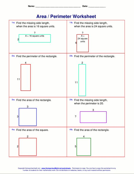 Area and perimeter worksheets rectangles and squares – Area Math Worksheets