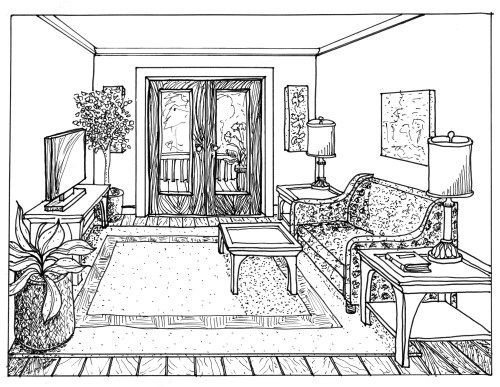 One point perspective drawing of a living room rendered 1 - One point perspective living room sketch ...
