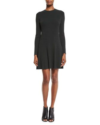Miriam Long-Sleeve Fit-and-Flare Jersey Dress, Black by A.L.C. at Bergdorf Goodman.