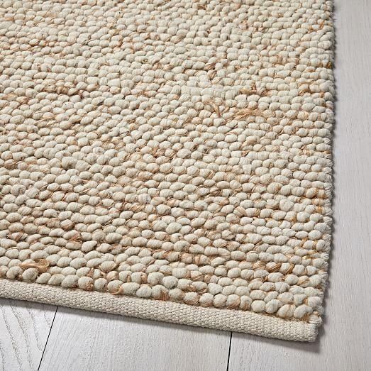 Mini Pebble Jute Wool Rug 5 X8 Natural Ivory The