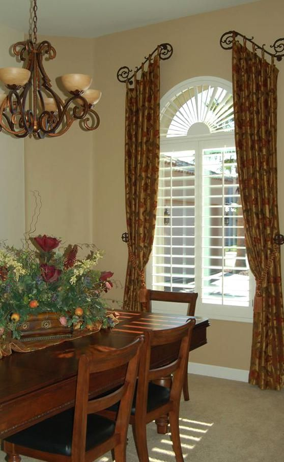 Tuscan Country Window Treatments Dining Rooms In 2020 Dining Room Window Treatments Dining Room Windows Dining Room Curtains