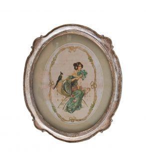 Cuadro de mujer con marco ovalado.