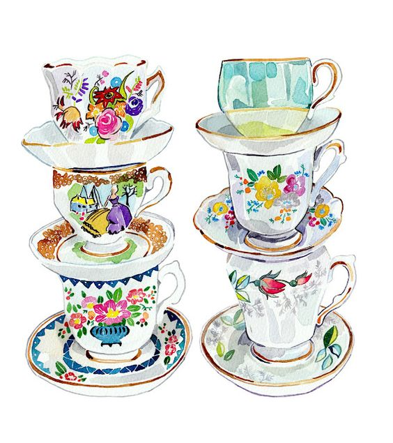"""vintage Tea Cups "" by holly exley"