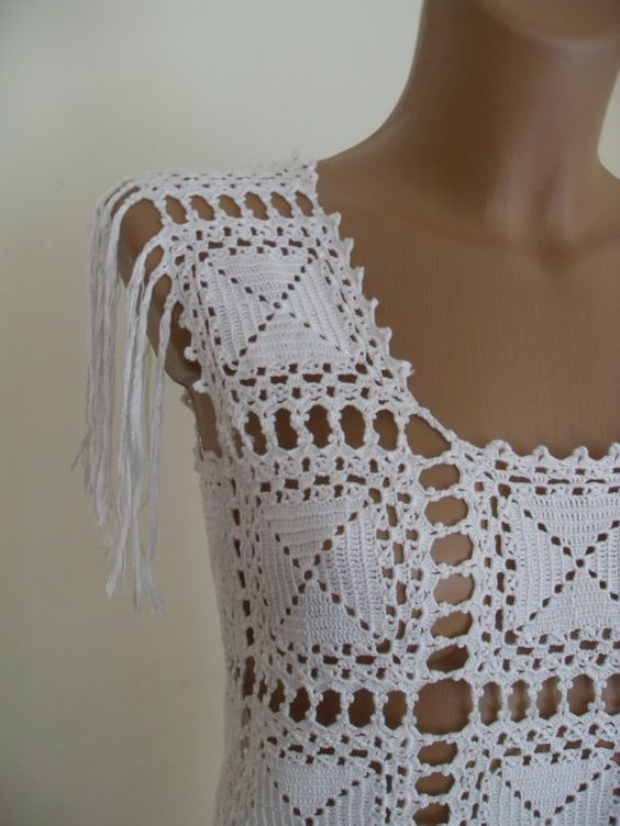 Crochet long dress white elegant by Lalerosso on Etsy