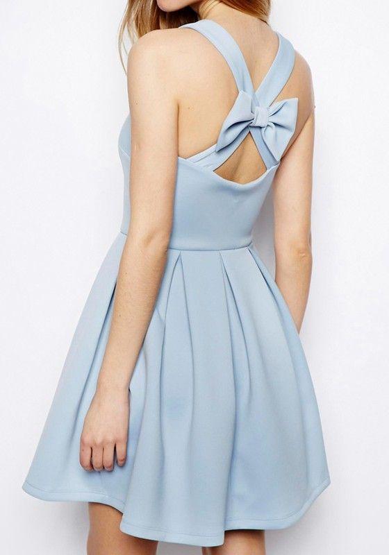 Light Blue Plain Sleeveless Mini Dress - lè wardrobe siorée ...