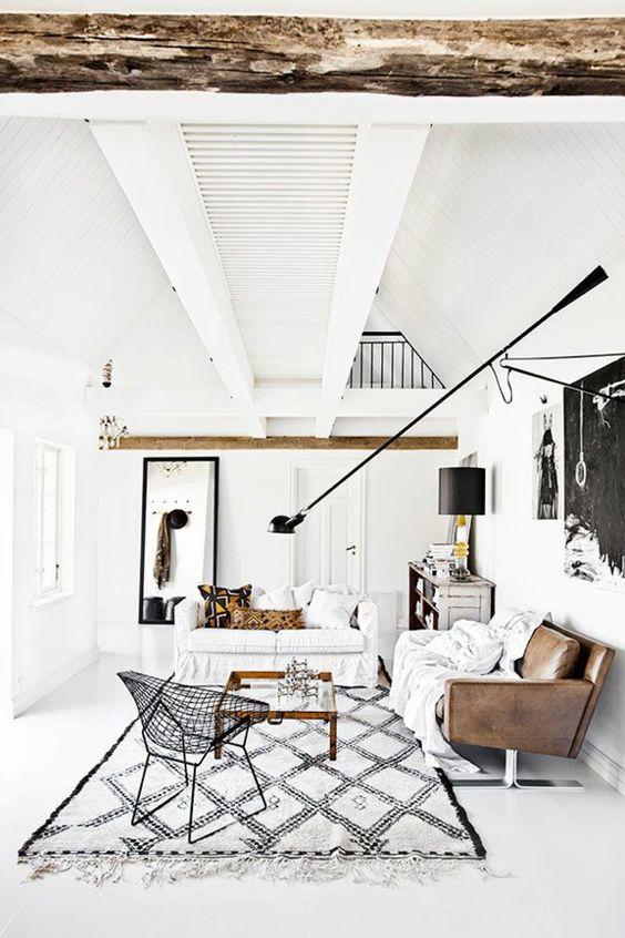 wohnzimmer weißes design braunes sofa