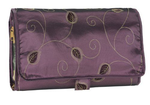 Danielle Autumn Bliss Collection Roll Up Valet, Brown by Danielle. $20.50. 11 inches long by 8 inches high. Autumn bliss design collection. Cosmtic roll up valet. Autumn bliss collection cosmetic roll up valet case with stunning rich mauve color with embroidered gold leaf motifs. 11 inches long by 8 inches high.