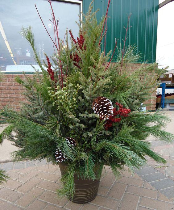 Christmas Porch Pot Ideas   Bing Images | Christmas Ideas | Pinterest |  Christmas Planters, Google Images And Planters