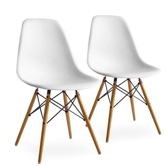 Lot De 2 Chaises Scandinaves Blanches Inspiration Eames Pieds