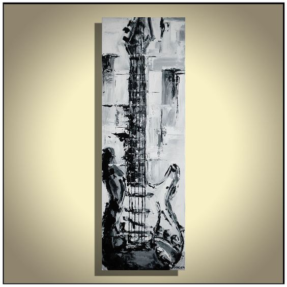 Guitar painting Black and white music art Abstract guitar ...