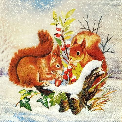 Christmas b/&w sled,gifts -X77 4 Single paper decoupage napkins winter,vintage