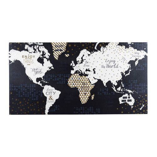 Toile and world on pinterest - Carte du monde tableau ...