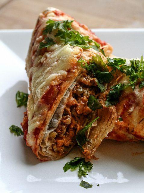 Vegetarische Burritos mit Linsen und Walnüssen
