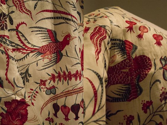 Chintz jacket, early 19th century. Remade from older fabric (India, 1700-1750). Fabric details