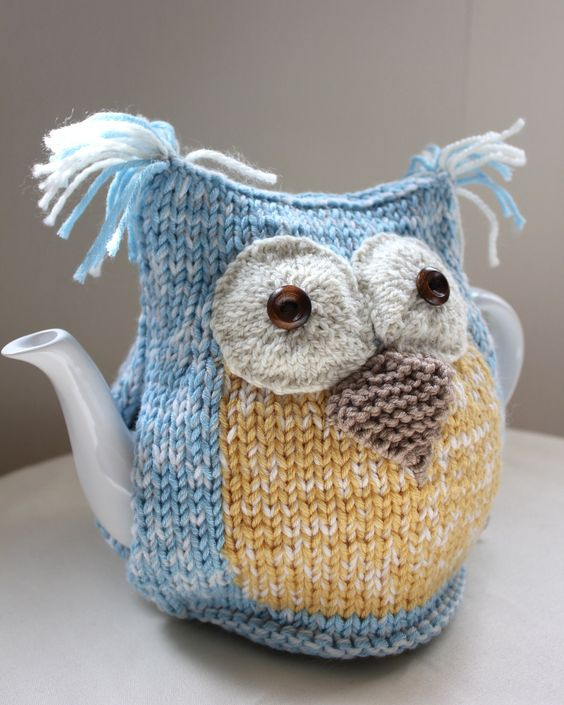 Organic Ocean Owl Tea Cosy - in Organic Ecofriendly Wool Cotton mix -  by Tafferty Designs - Size MEDIUM - Made to Order: