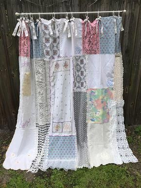 Shabby Chic Shower Curtain Bathroom Curtain Cottage Chic Home