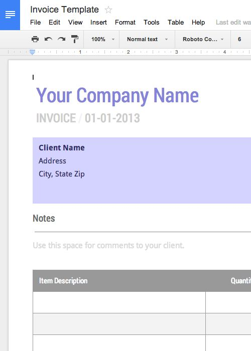 Use this blank invoice template for Google Docs now - Free - use of an invoice
