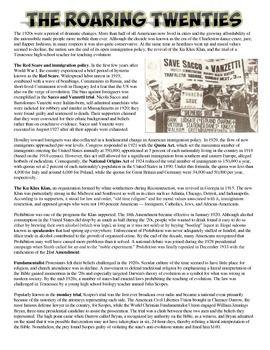 Roaring Twenties Reading Worksheet | Red Scare, Roaring 20s and ...