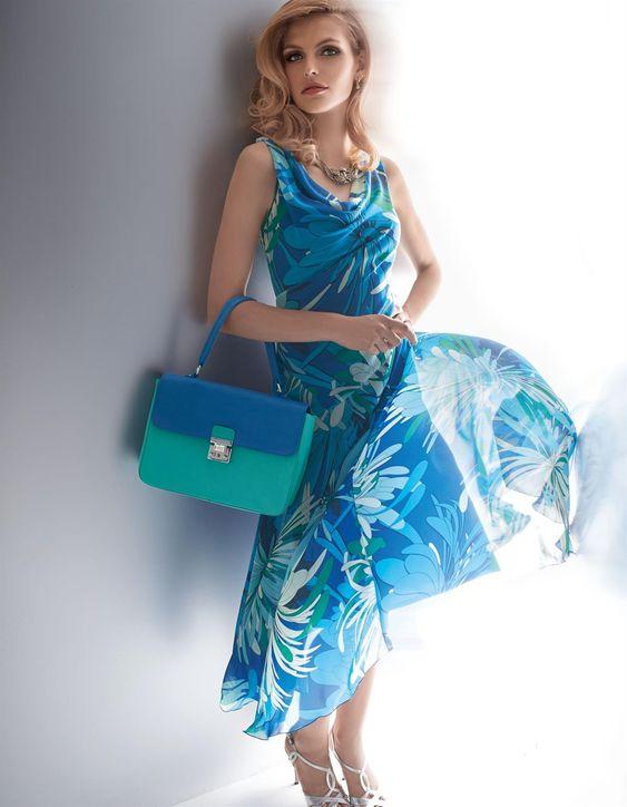 Kleid mit Wasserfallausschnitt in der Farbe royal / türkis / weiß - royalblau - weiß, grün, blau - im MADELEINE Mode Onlineshop