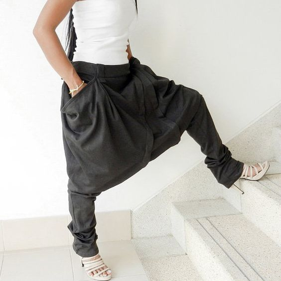 Gaucho Traditional Style Ninja-Pleated Comfortable Pant,Charcoal Grey,Cotton Jersey. on Etsy, $39.00