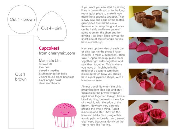 Cupcake Pattern by ~coconut-lane on deviantART: Felt Patterns Free, Coming Cupcake, Cupcake Felt, Softie Pattern, Felt Cupcakes, Cupcake Crafts