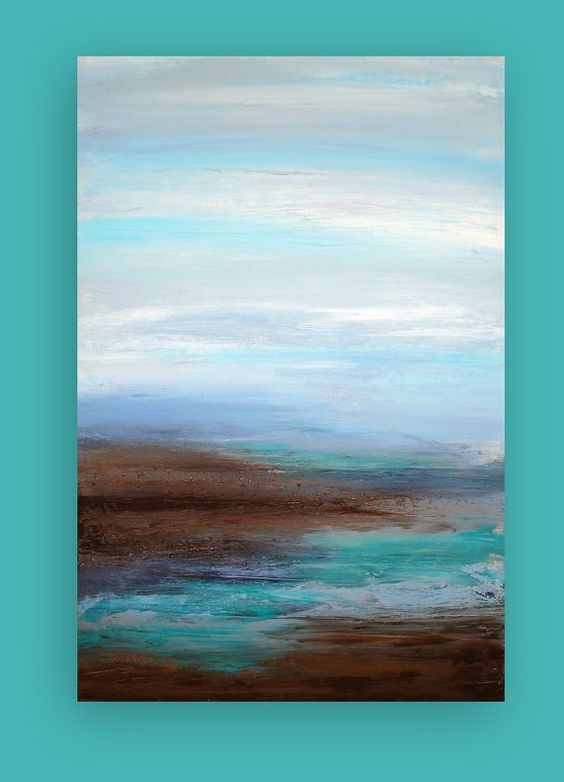 Original Ocean Abstract Acrylic Painting Titled: Coastal ...