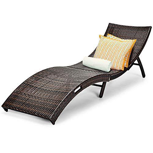 tangkula patio rattan chaise lounge