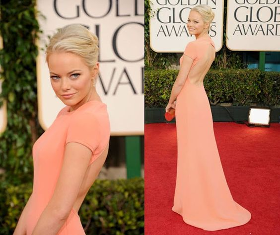 Emma Stone in a peach dream by Calvin Klein. absolutely adore her. and her dress.
