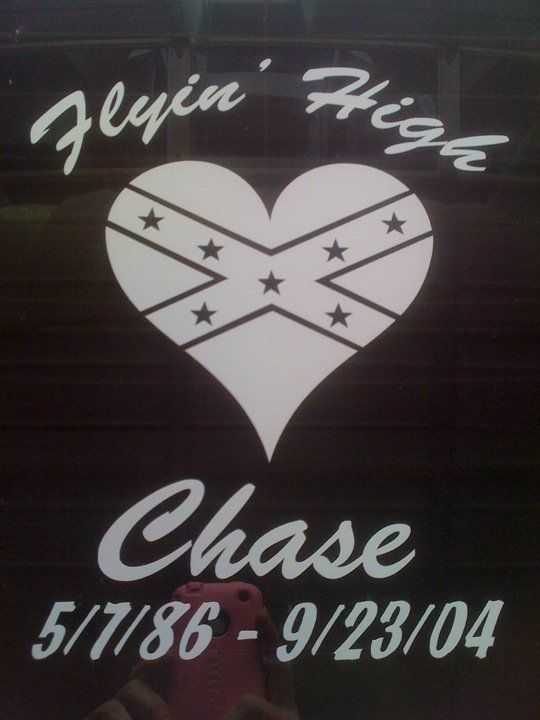 Rebel flag heart confederate flag heart sticker customized to make a memorial. Add you own quote or saying like this customer to create a unique memorial.