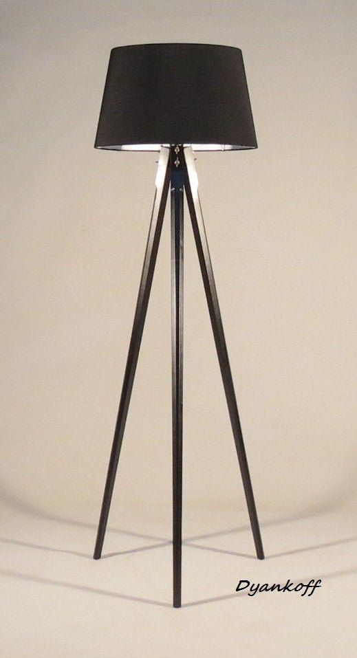 Handmade Tripod Floor lamp different colors lampshade,model Ivanina wooden stand in dark wood color with metal elements,drum lampshade