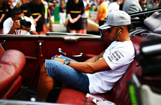 Lewis Hamilton of Great Britain and Mercedes GP on the drivers parade before the Formula One Grand Prix of Belgium