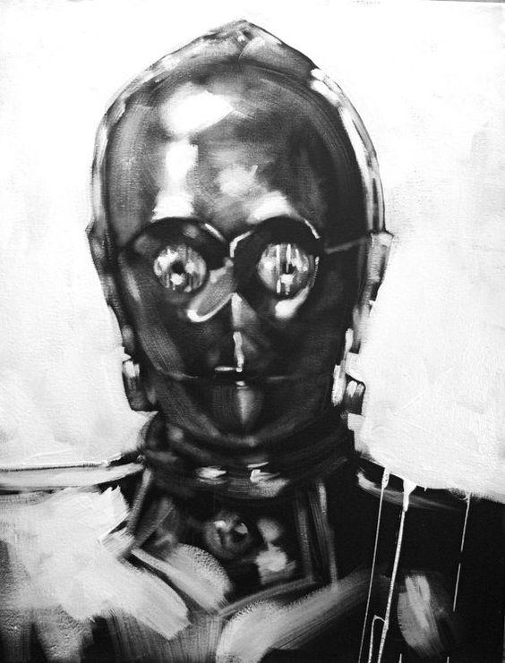C3PO Black &amp White Art Portrait Original Painting Star Wars