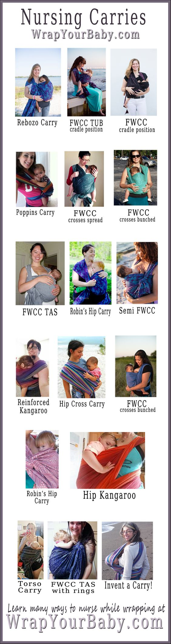 15 Woven Wrap Carries for Nursing Your Baby, blog post includes breastfeeding-in-the-wrap tips and several how-to videos. #WorldBreastfeedingWeek