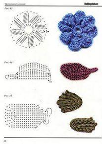 örgü çiçek ve yaprak