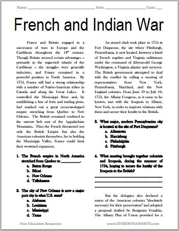 French indian war essay