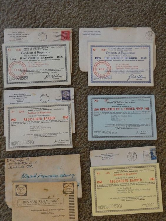 NC & SC 1957-1960 Board of Barber Examiners Certificates of Registration's #BarberExaminersCertificatesofRegistration