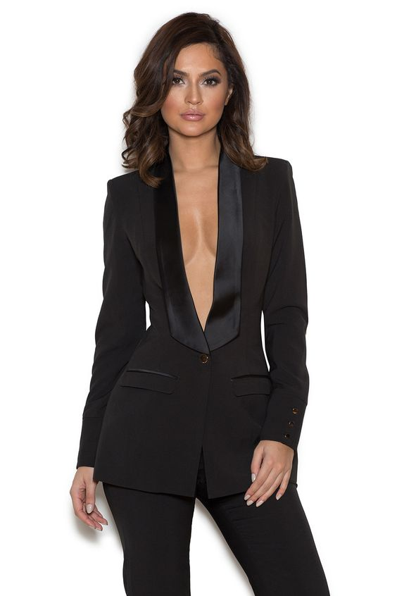 Clothing : 2 Pieces : 'Masson' Black Stretch Crepe Tailored Trouser Suit