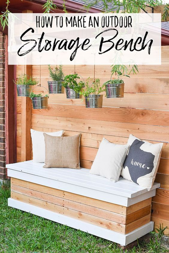 DIY Outdoor Storage Bench. Backyard Box with Hidden Storage. #diyoutdoorfurniture #diyoutdoor #outdoorstorage #backyardideas #backyardstorage #diyandcrafts #homedecor #diyprojects