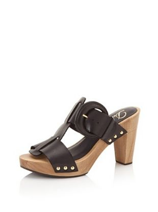 Delman Women's Devon Wood Sandal (Black Vachetta)