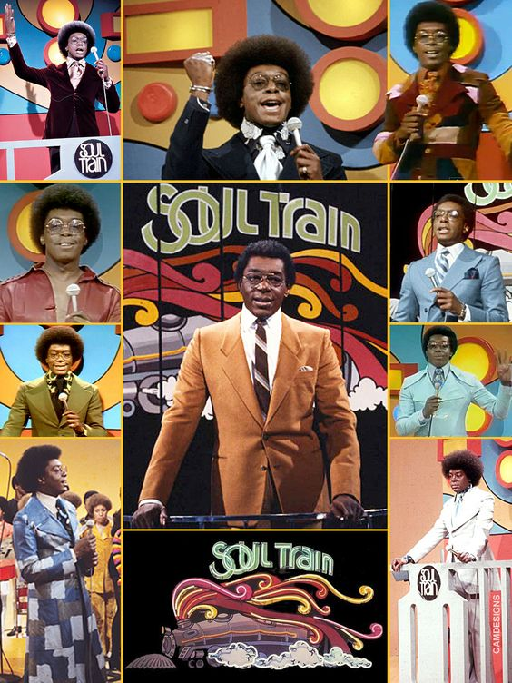 Soul Train, soul music tv program launched in 1971.  We never got this in England but I know I would have loved it, the dancing the flares the disco not to mention the Afros, oh yes