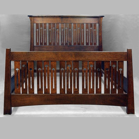 I think this bed is utterly gorgeous. I love the craftsman-mission style  anyway but how the unique cutouts make it just a notch out-of-the-ordinary. It is so beautiful that I am even almost sold on the oak instead of clearer-grained woods like maple or cherry - but only in this darker stain.