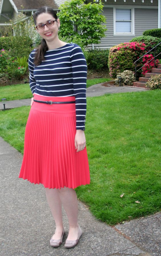 pleated skirts, coral, navy blue stripes