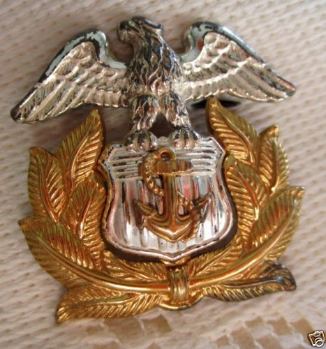 10K Gold Filled Sterling WWII United States Merchant Marine Officers Cap Pin